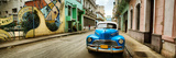 Old Car and a Mural on a Street, Havana, Cuba Fotoprint