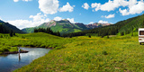 Man Camping Along Slate River, Crested Butte, Gunnison County, Colorado, USA Photographic Print