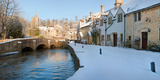 Buildings Along Snow Covered Street, Castle Combe, Wiltshire, England Photographic Print