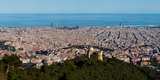 Aerial View of a City, Barcelona, Catalonia, Spain Photographic Print