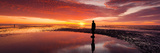 Silhouette of Human Sculpture on the Beach at Sunset, Another Place, Crosby Beach, Merseyside Photographic Print