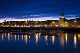 Buildings at the Waterfront Lit Up at Dusk, Old Port, La Rochelle, Charente-Maritime Photographic Print by Green Light Collection