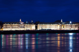 Place De La Bourse Buildings from the Garonne River at Dusk, Bordeaux, Gironde, Aquitaine, France Photographic Print by Green Light Collection