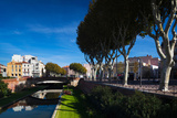 Buildings Along the Basse Riverfront, Perpignan, Pyrenees-Orientales, Languedoc-Roussillon, France Photographic Print by Green Light Collection