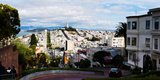 Aerial View of the Lombard Street, Coit Tower, Bay Bridge, San Francisco, California, USA Photographic Print