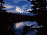 Reflection of a Snow Covered Mountain in a Lake, Mt Hood, Lost Lake, Mt. Hood National Forest Photographic Print by Green Light Collection