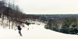 People Skiing and Snowboarding on Hunter Mountain, Catskill Mountains, Hunter, Greene County Photographic Print