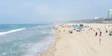 Tourists on the Beach, Santa Monica Beach, Santa Monica, Los Angeles County, California, USA Photographic Print