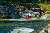 Man Kayaking in Rapid Water, Ontario, Canada Photographic Print by Green Light Collection