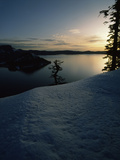 Lake at Sunset, Llao Rock, Wizard Island, Crater Lake National Park, Oregon, USA Photographic Print by Green Light Collection