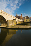 Bridge across the River, Steinerne Bridge, Danube River, Regensburg, Bavaria, Germany Photographic Print by Green Light Collection