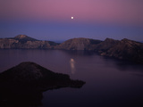 Moonrise over Wizard Island, Crater Lake, Crater Lake National Park, Oregon, USA Photographic Print by Green Light Collection