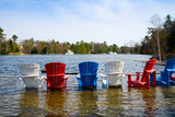 Adirondack Chairs Partially Submerged in the Lake Muskoka, Ontario, Canada Photographic Print by Green Light Collection
