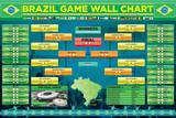 Brazil Football Wallchart Plakaty