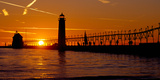 Grand Haven Lighthouse at Sunset, Grand Haven, Michigan, USA Photographic Print