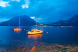 Boats Anchored in the Lake Como, Varenna, Lombardy, Italy Photographic Print by Green Light Collection