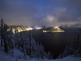 Wizard Island at Crater Lake in Winter, Crater Lake National Park, Oregon, USA Photographic Print by Green Light Collection