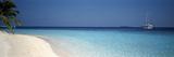 Beach and Boat Scene the Maldives Papier Photo