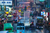 Traffic on a Street at Night, Des Voeux Road Central, Central District, Hong Kong Island, Hong Kong Reprodukcja zdjęcia autor Green Light Collection