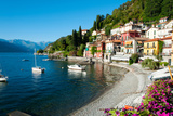 Houses at Waterfront with Boats on Lake Como, Varenna, Lombardy, Italy Photographic Print by Green Light Collection