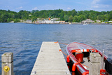 Motorboat Moored at a Pier, Gravenhurst Bay, Gravenhurst, Ontario, Canada Photographic Print by Green Light Collection