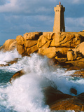 Waves Crashing at Ploumanac'H Lighthouse, Pink Granite Coast, Perros-Guirec, Cotes-D'Armor Photographic Print by Green Light Collection