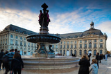 Place De La Bourse Buildings at Dusk, Bordeaux, Gironde, Aquitaine, France Photographic Print by Green Light Collection