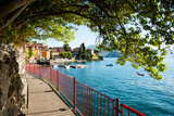 Walkway Along the Shore of a Lake, Varenna, Lake Como, Lombardy, Italy Photographic Print by Green Light Collection