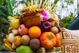 Basket of Fruits and Bakery Items Being Offered at Temple on Holy Day, Tiga, Susut, Bali, Indonesia Lámina fotográfica por Green Light Collection