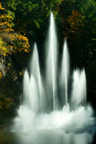 Waterfall in a Garden, Butchart Gardens, Victoria, Vancouver Island, British Columbia, Canada Photographic Print by Green Light Collection