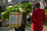 People at a Vegetable Market, Xizhou, Erhai Hu Lake Area, Yunnan Province, China Photographic Print by Green Light Collection