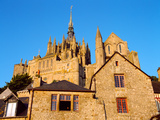 Low Angle View of Buildings at Mont Saint-Michel, Manche, Basse-Normandy, France Photographic Print by Green Light Collection