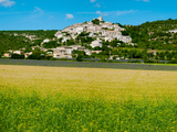 Farm with a Town in the Background, Simiane-La-Rotonde, Alpes-De-Haute-Provence Photographic Print by Green Light Collection