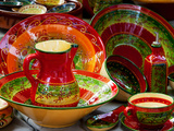 Pottery for Sale at a Market Stall, Lourmarin, Vaucluse, Provence-Alpes-Cote D'Azur, France Photographic Print by Green Light Collection