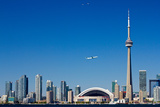 Airplane over City Skylines, Cn Tower, Toronto, Ontario, Canada 2011 Photographic Print by Green Light Collection