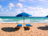 Lounge Chairs and Beach Umbrella on the Beach, Fort Lauderdale Beach, Florida, USA Photographic Print by Green Light Collection