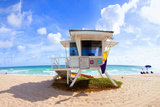 Lifeguard Hut on the Beach, Fort Lauderdale, Florida, USA Photographic Print by Green Light Collection