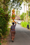 Woman Carrying Offering to Temple, Pejeng Kaja, Tampaksiring, Bali, Indonesia Photographic Print by Green Light Collection