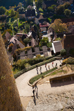 Elevated View of a Village with Chateau De Castelnaud, Castelnaud-La-Chapelle, Dordogne Photographic Print by Green Light Collection