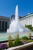Fountain at the Temple Square, Salt Lake City, Utah, USA Photographic Print by Green Light Collection