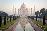 Reflection of a Mausoleum in Water, Taj Mahal, Agra, Uttar Pradesh, India Fotografie-Druck von Green Light Collection