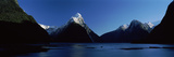Lake with Mountains in the Background, Milford Sound, Fiordland National Park, South Island Photographic Print