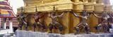 Statues at Base of Golden Chedi, the Grand Palace, Bangkok, Thailand Photographic Print
