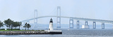 Goat Island Lighthouse with Claiborne Pell Bridge in the Background, Newport, Rhode Island, USA Photographic Print