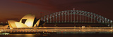 Opera House Lit Up at Night with Light Streaks, Sydney Harbor Bridge, Sydney Opera House Photographic Print