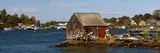Fishing Shack with Lobster Pot Buoys and Harbor, Mackerel Cove, Bailey Island, Casco Bay, Maine Photographic Print
