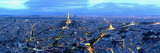 Aerial View of a City at Dusk, Paris, Ile-De-France, France Photographic Print