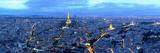 Aerial View of a City at Dusk, Paris, Ile-De-France, France Photographic Print
