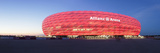 Soccer Stadium Lit Up at Dusk, Allianz Arena, Munich, Bavaria, Germany Reproduction photographique