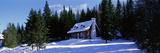 Log House in Winter Laurentides Quebec Canada Fotografická reprodukce